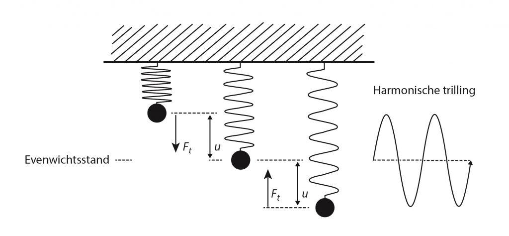 Uitleg van het massa-veersysteem en harmonische trilling
